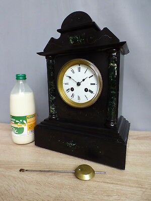 A GOOD BLACK SLATE MANTLE CLOCK WITH A SAMUEL MARTI BELL STRIKE MOVEMENT c1890