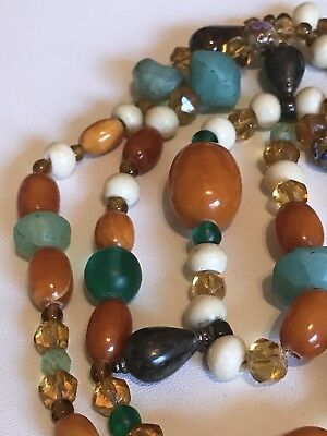 Ancient Beads Baltic Amber Chalcedony Citrine Mali Beads Caravaca Cross Necklace