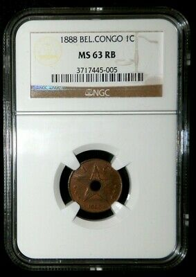1888 Belgian Congo Centime- Leopold Ii - Ngc Mint State 63 Red Brown