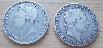 TWO SILVER CROWNS - 1819 and 1821 - Attractive Grade