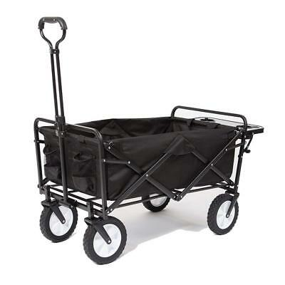 Mac Sports Collapsible Folding Outdoor Utility Wagon (Side Table, Black)