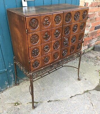 Antique French Carved Oak & Wrought Iron Mirrored Liquor Drinks Cabinet On Stand