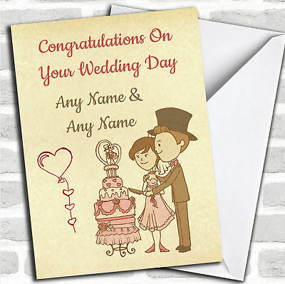 Couple Cutting The Cake Personalised Wedding Greetings Card