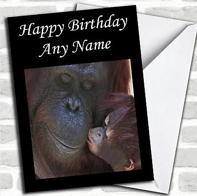 Gorilla /& Baby Mother/'s Day Customised Card