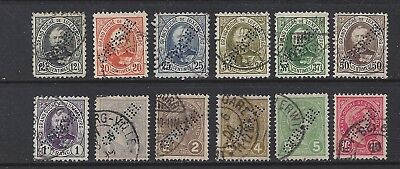 Luxembourg 1890s Official Perfin Set to 1 Fr, VF Used
