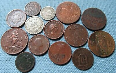 Lot of 14 1800s Europe Old World Coins 1810-1894 Copper Bronze Copper-Nickel
