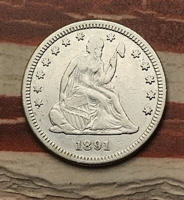 1891-S 25C Seated Liberty Quarter 90% Silver Vintage US Coin #WF2 Sharp Appeal
