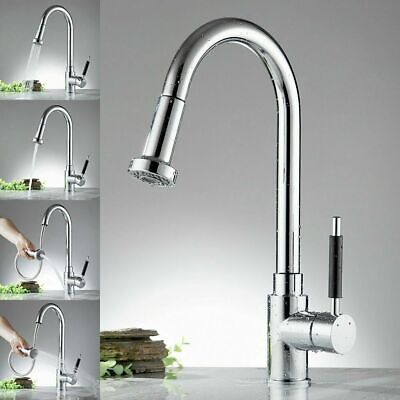 Kitchen Sink Mixer Taps With Pull Out Hose Monobloc Chrome or Brushed Steel Tap