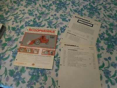 1967 Scoopmobile Model Hp Front End Loader Sales Brochure With Price List
