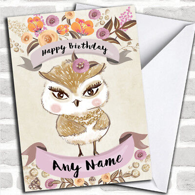 Pretty Owl Customized Birthday Greetings Card