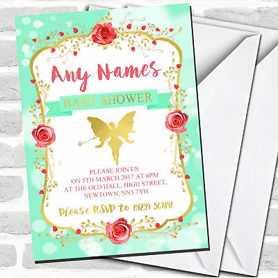 Green Tinkerbell Pixie Fairy Invitations Baby Shower