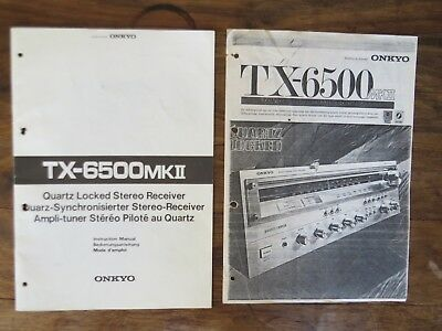 Onkyo TX6500 mkII manual plus copy sales leaflet
