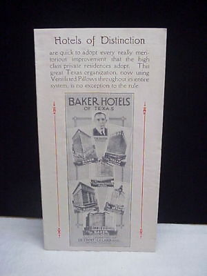 Vintage Hotels of Distinciton Baker Hotels of Texas Brochure 1931 Pillow Order