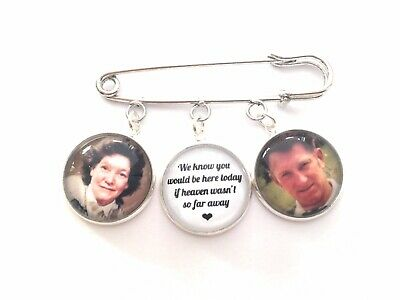 Groom Buttonhole 2 Photo Memorial Charm Gift Wedding Bridal Memory Pin