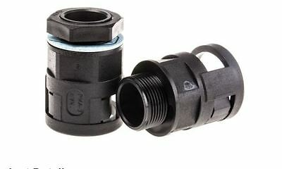 PMA Straight Cable Conduit Fitting, PA 6 Black Black 23mm IP68 M25- Pack:4
