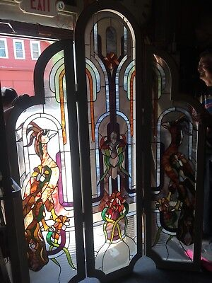 Exceptional Leaded Glass Oversized Birds Of Paradise Folding Screen