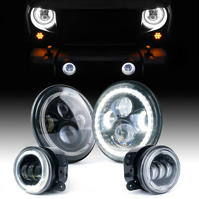 "Xprite 7"" 90W LED Headlight & Fog Light Combo w/ White Halo Ring For Jeep 07-18"
