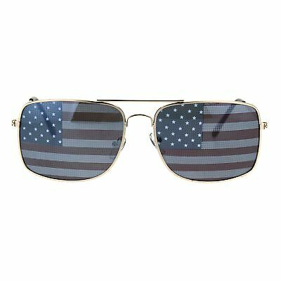 68f737cff0d Mens American USA Flag Imprint Lens Rectangular Aviator Sunglasses Gold