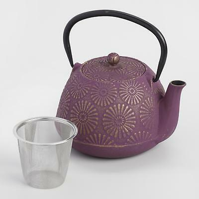 Plum Flower Japanese Cast Iron Teapot w/Bamboo Handle & Stainless Infuser Basket