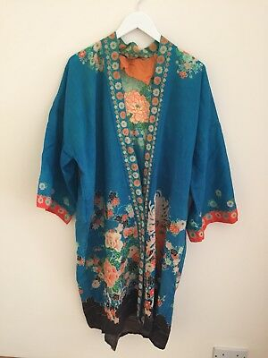 Beautiful true vintage KIMONO 1930s Art Deco Poss Cotton Silk Blend