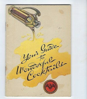 """1940? Bacardi """"Your Guide to Wonderful Cocktails"""" 31 Page Book Cuba Puerto Rico"""