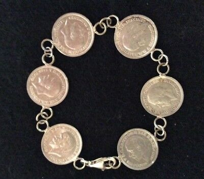 Three-Pence Silver Coins on a Silver Bracelet 7""