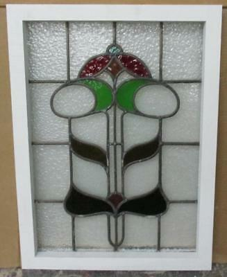 """OLD ENGLISH LEADED STAINED GLASS WINDOW Marvelous Floral Tower 17"""" x 23"""""""
