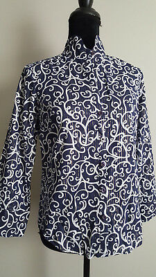 Lilly Pulitzer Womens Blouse Top Button Down Shirt Navy and White Size 4