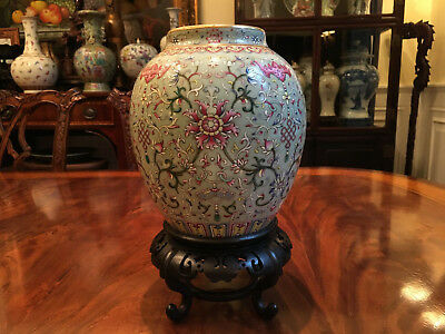 A Rare Chinese Qing Dynasty Famille Rose Porcelain Vase, Qianlong Mark.