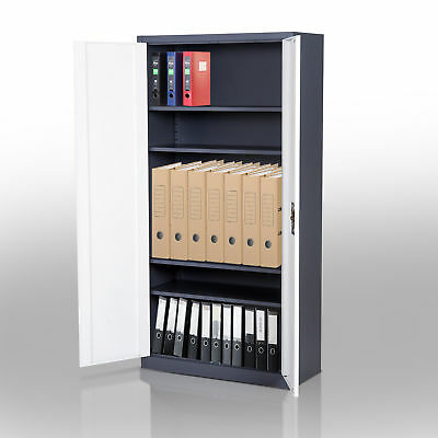 HOMCOM Lockable Filing Cabinet Adjustable Shelf CRS White,Black Home Office