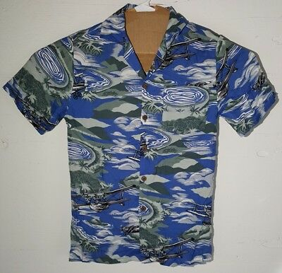 55a34fd5f2f8 VTG Uluwatu Small Plane Hawaiian Aloha Shirt Camp Clouds Islands Single  Stitch