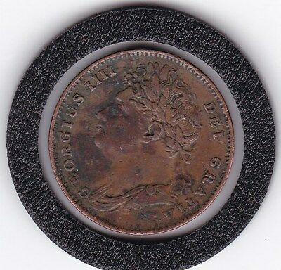 1825   King George  IV  Farthing  Copper  Coin