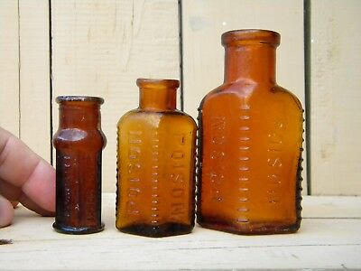 THREE Vintage Embossed AMBER POISON BOTTLES - Asssorted Mix