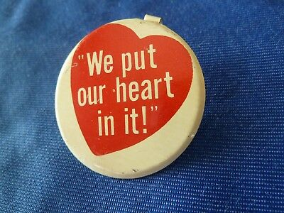 """Vintage Metal """"We Put Our Heart In It"""" MISTER DONUT Fold Over LAPEL PIN Coffee"""