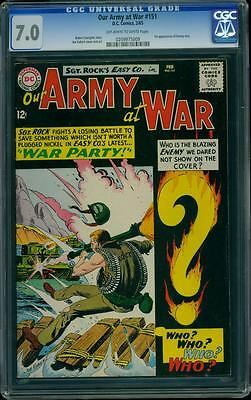 Our Army At War 151 CGC 7.0 OW/W Silver Age Key DC Comic 1st Enemy Ace L@@K
