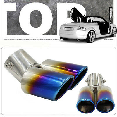 Universal Stainless Steel Car Rear Dual Exhaust Pipe Tail Muffler Tip Durable uk