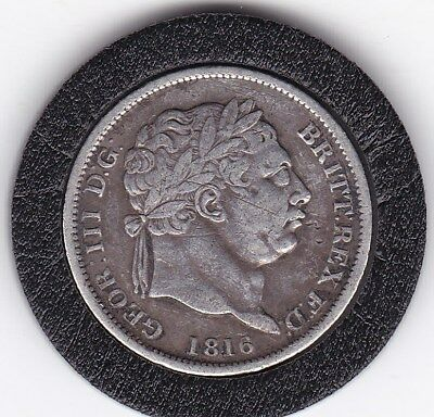 1816   King  George  III  Sterling  Silver  Shilling  British Coin