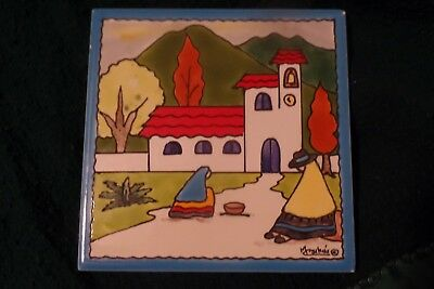 Magda L. Csihas Hand-Painted 6x6 Ceramic Tile from the Witte Museum