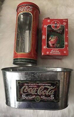 Lot of 3 Coca Cola Collectibles Straw Holder, 1998 Ornament & Metal Planter