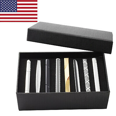 8pcs Set Mens Stainless Steel Black Silver Gold Ties Necktie Clasp Pin Clip Bar