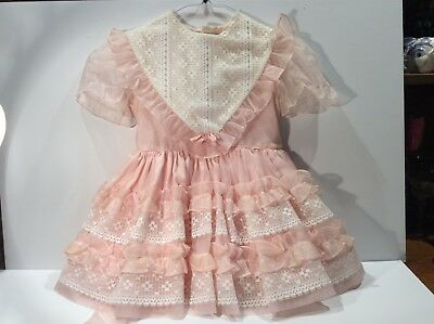Vintage Martha's Miniatures We're Fussy Pink & White Dress ~Fancy Lace Ruffels~