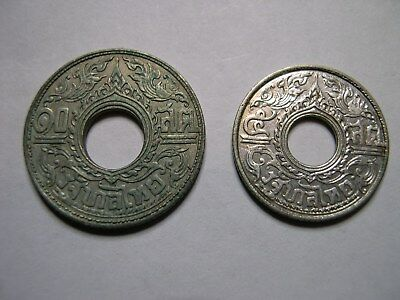 THAILAND 1941 Silver 5 and 10 Satang Higher grades