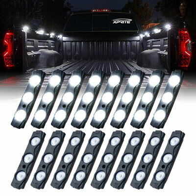 16PCS Xprite 12V LED White Waterproof Pickup Truck Bed Light Pod Kit Strip