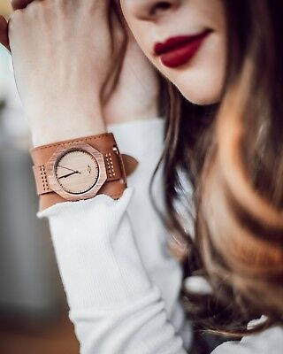 Angie Wood Creations Zebrawood Women's Watch With Leather Cuff Strap,engraving