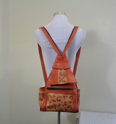 Made In Mexico Beige Floral Tooled Leather & Rust Leather Boho Backpack Purse