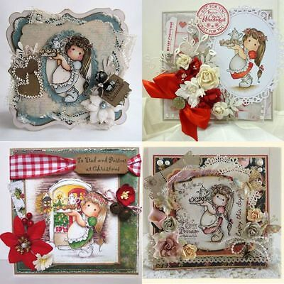 Crafts Metal Embossing Girl Clear Stamps Cutting Dies Stencils Scrapbooking