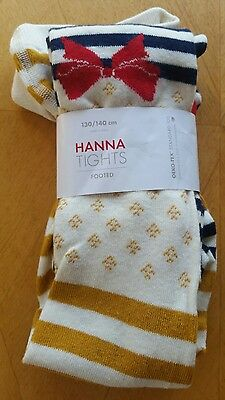 Nwt Hanna Andersson Cotton Footed Take A Bow Navy Ecru Tights 130 140 8 10