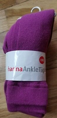 NWT Hanna Andersson Cotton Ankle Tights Berry Purple  150 12