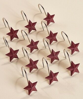 Set Of 12 Shower Curtain Hooks Country Star Primitive Bathroom Home Decor