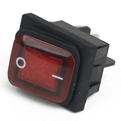 Rocker Switch 220V Mains Red ON / OFF Double Pole 4 Pin DPST